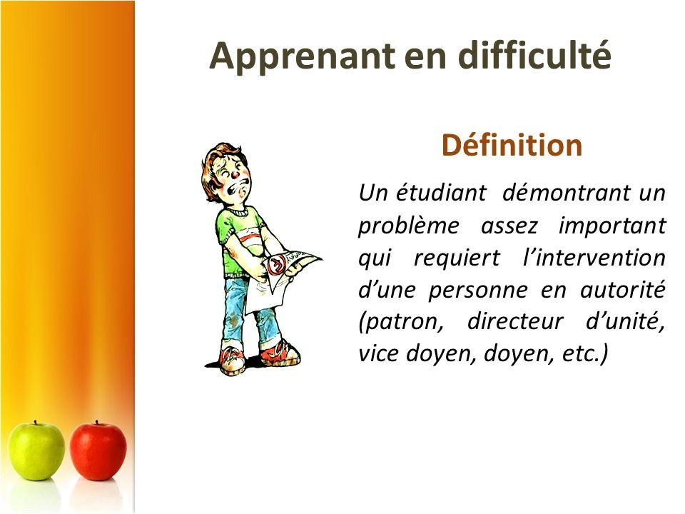 Apprenant en difficulté Définition Un étudiant démontrant un problème assez important qui requiert lintervention dune personne en autorité (patron, di