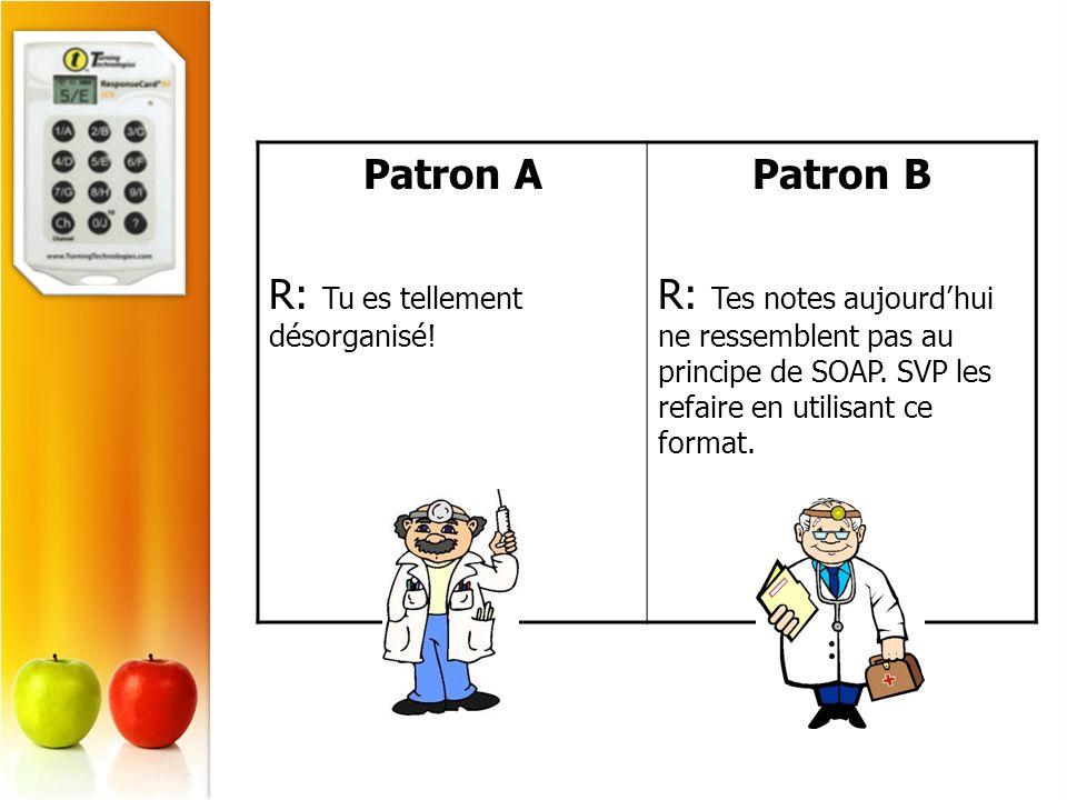 Patron A R: Tu es tellement désorganisé! Patron B R: Tes notes aujourdhui ne ressemblent pas au principe de SOAP. SVP les refaire en utilisant ce form