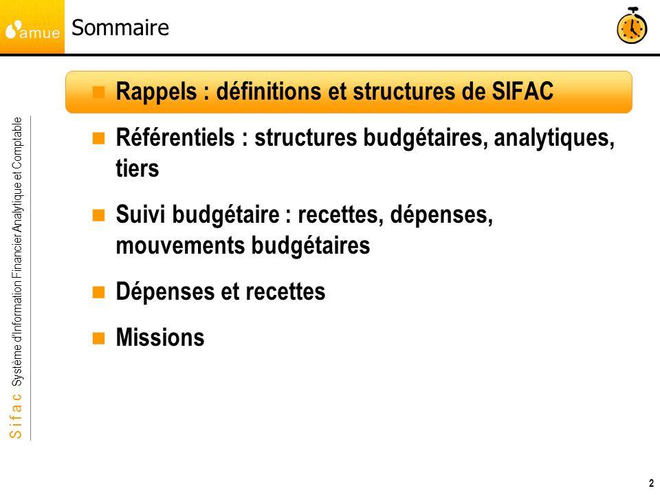 S i f a c Système dInformation Financier Analytique et Comptable 2 Sommaire Rappels : définitions et structures de SIFAC Référentiels : structures bud