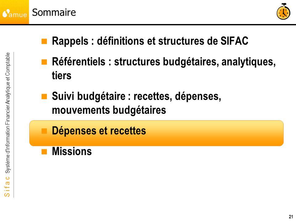 S i f a c Système dInformation Financier Analytique et Comptable 21 Sommaire Rappels : définitions et structures de SIFAC Référentiels : structures bu