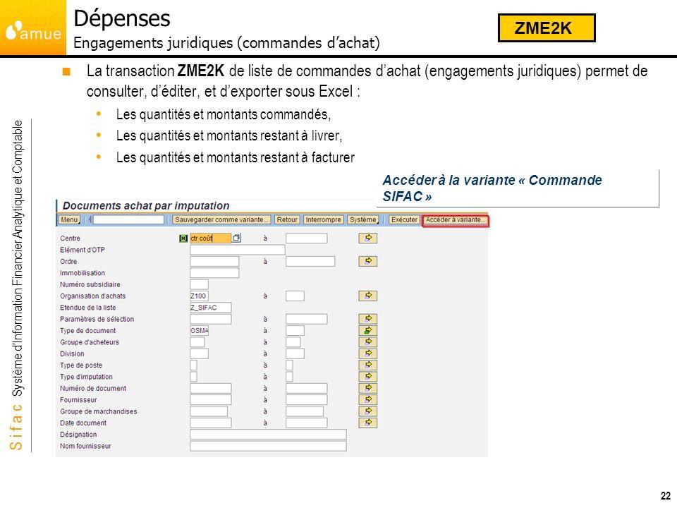 S i f a c Système dInformation Financier Analytique et Comptable 22 La transaction ZME2K de liste de commandes dachat (engagements juridiques) permet