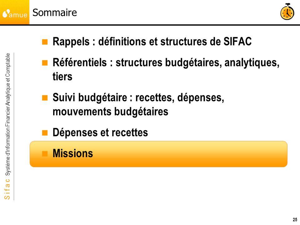 S i f a c Système dInformation Financier Analytique et Comptable 25 Sommaire Rappels : définitions et structures de SIFAC Référentiels : structures bu