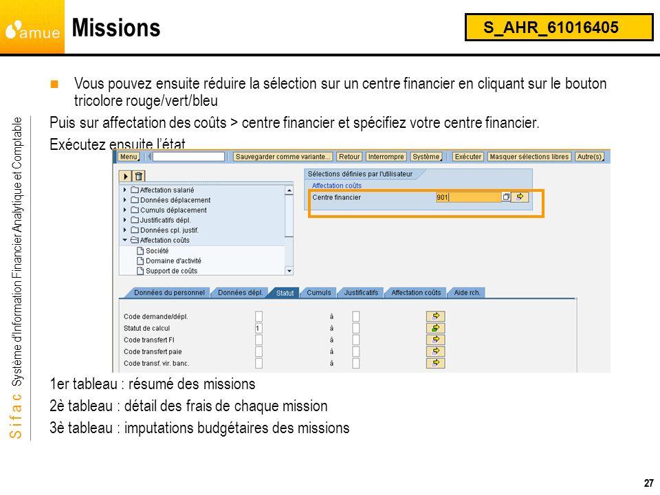 S i f a c Système dInformation Financier Analytique et Comptable 27 Missions S_AHR_61016405 27 Vous pouvez ensuite réduire la sélection sur un centre