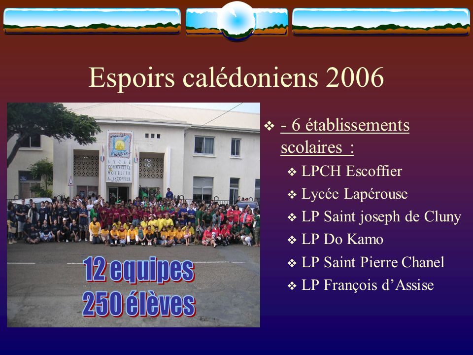 Espoirs calédoniens 2006 - 6 établissements scolaires : LPCH Escoffier Lycée Lapérouse LP Saint joseph de Cluny LP Do Kamo LP Saint Pierre Chanel LP François dAssise