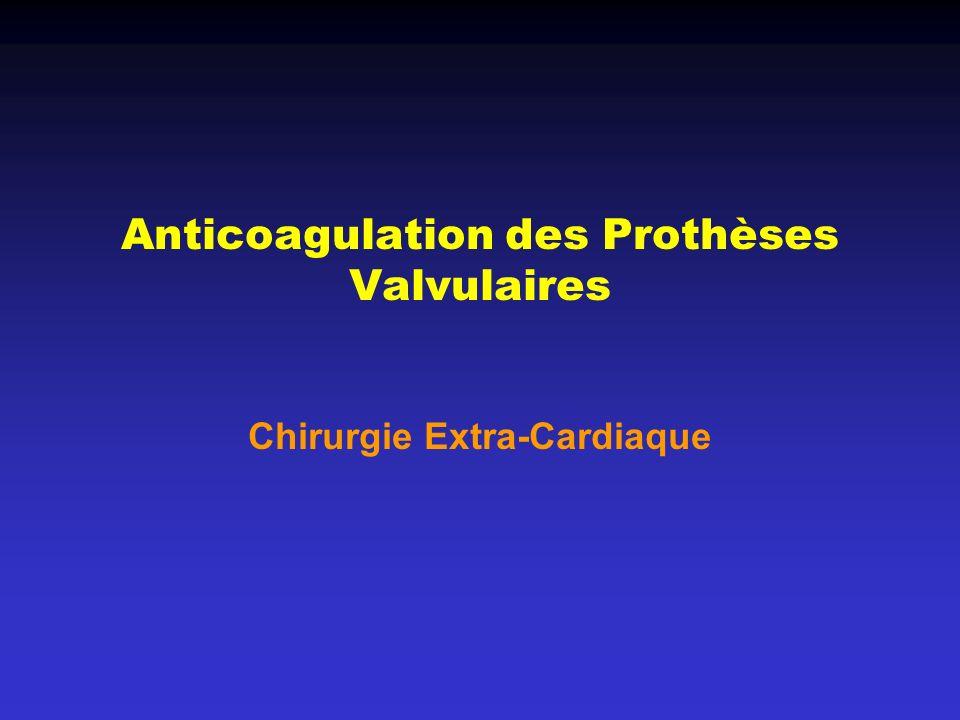 Anticoagulation des Prothèses Valvulaires Chirurgie Extra-Cardiaque