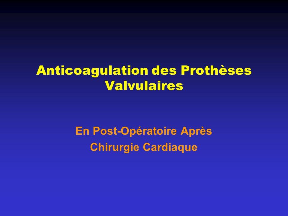 Anticoagulation des Prothèses Valvulaires En Post-Opératoire Après Chirurgie Cardiaque