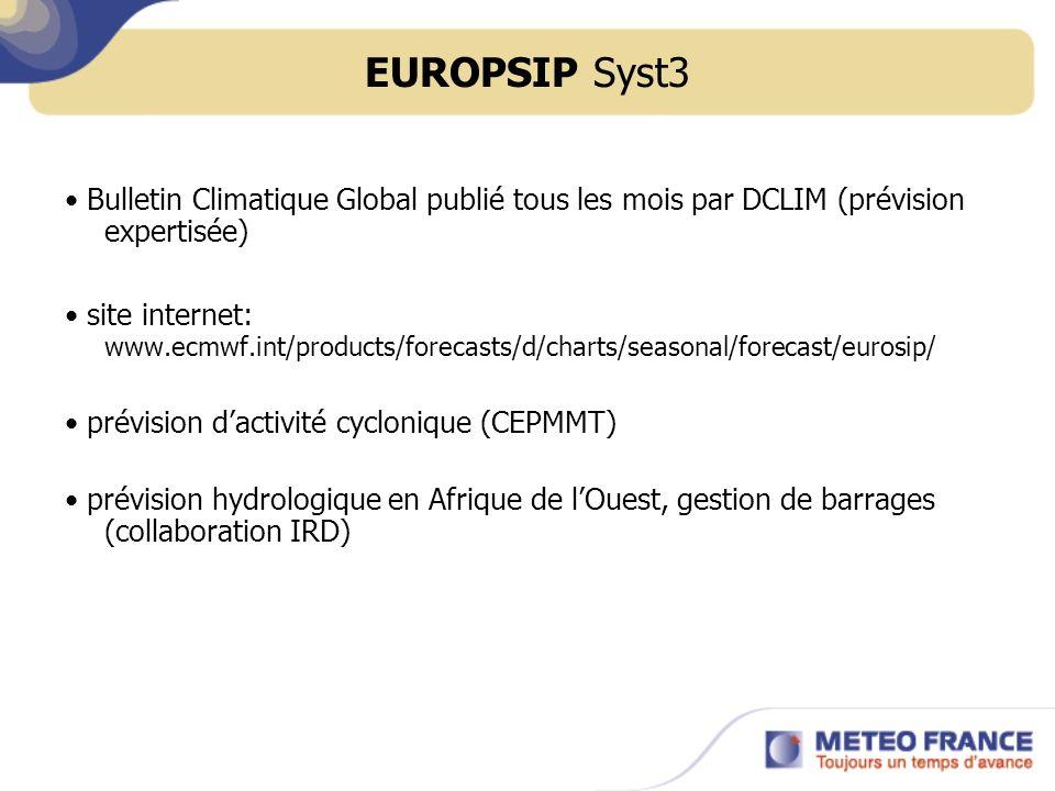 EUROPSIP Syst3 Bulletin Climatique Global publié tous les mois par DCLIM (prévision expertisée) site internet: www.ecmwf.int/products/forecasts/d/char