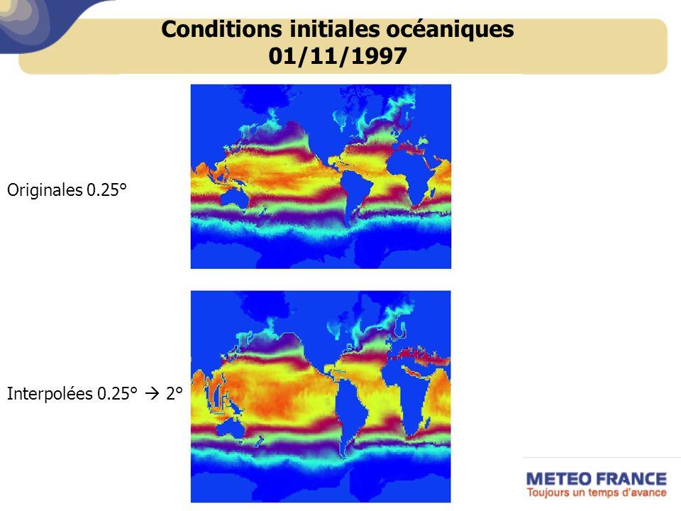 Conditions initiales océaniques 01/11/1997 Interpolées 0.25° 2° Originales 0.25°