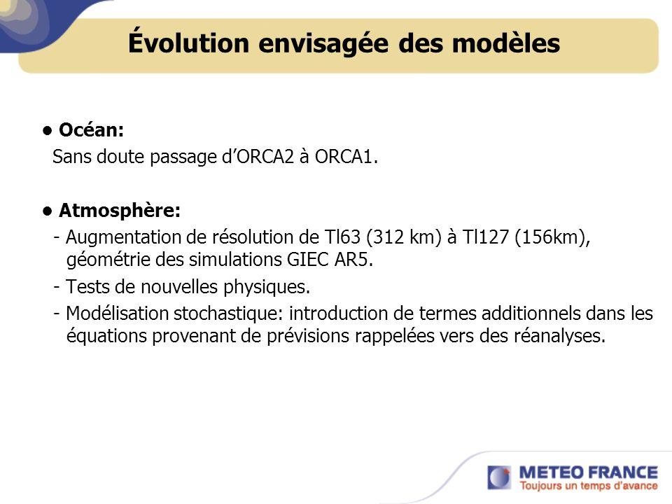 Océan: Sans doute passage dORCA2 à ORCA1. Atmosphère: - Augmentation de résolution de Tl63 (312 km) à Tl127 (156km), géométrie des simulations GIEC AR