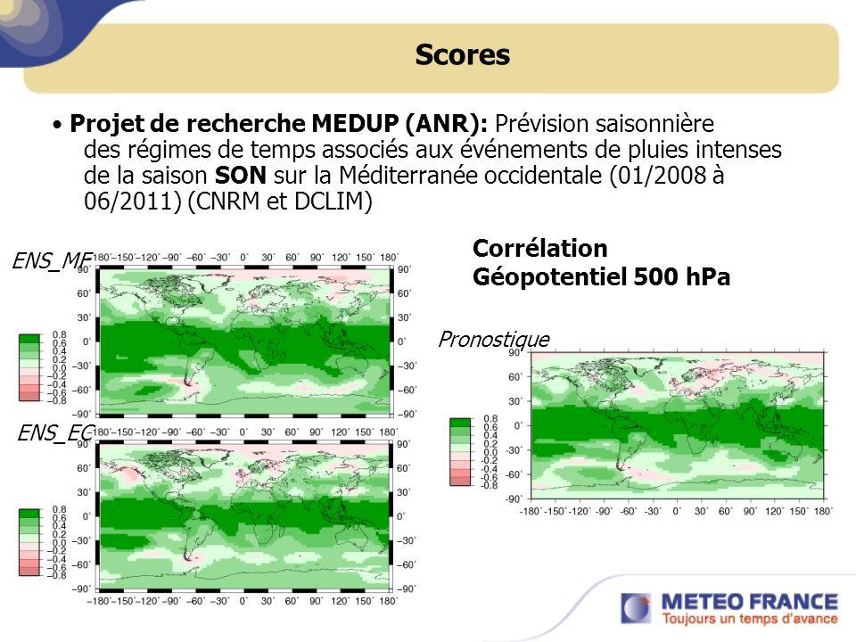 Scores Projet de recherche MEDUP (ANR): Prévision saisonnière des régimes de temps associés aux événements de pluies intenses de la saison SON sur la