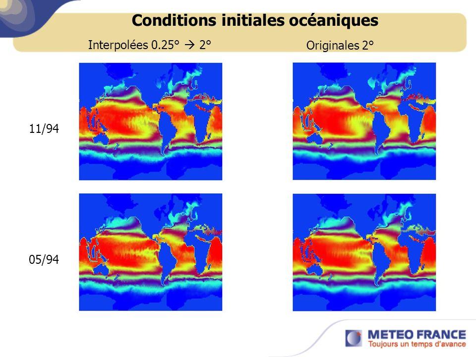 Conditions initiales océaniques 11/94 05/94 Interpolées 0.25° 2°Originales 2°