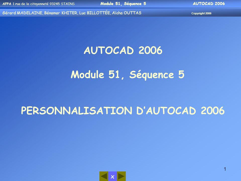 x AFPA 1 rue de la citoyenneté 93245 STAINS Module 51, Séquence 5 AUTOCAD 2006 Gérard MADELAINE, Bénamar KHITER, Luc BILLOTTÉE, Aïcha OUTTAS Copyright 2006 32 Rappel : -Afin de vous permettre de mener à bien le TP, nous vous rappelons que vous pouvez utiliser les outils daide mis à votre disposition : 1- Par laide dAutoCAD (?) 2- Par vos notes personnelles, des modules précédents Exemple:tapez le mot cercle puis cliquez sur Rechercher cliquez sur le Titre quon souhaite On aura cette boite de dialogue à manipuler