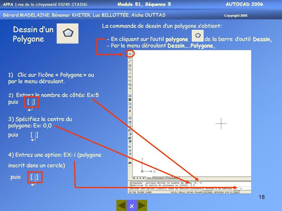 x AFPA 1 rue de la citoyenneté 93245 STAINS Module 51, Séquence 5 AUTOCAD 2006 Gérard MADELAINE, Bénamar KHITER, Luc BILLOTTÉE, Aïcha OUTTAS Copyright