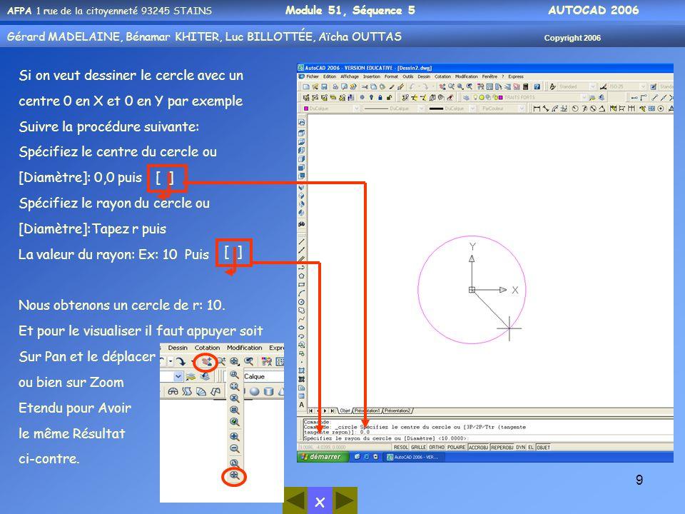 x AFPA 1 rue de la citoyenneté 93245 STAINS Module 51, Séquence 5 AUTOCAD 2006 Gérard MADELAINE, Bénamar KHITER, Luc BILLOTTÉE, Aïcha OUTTAS Copyright 2006 20 AutoCAD affiche sur la ligne de commande : Spécifiez un point: On peut répondre : soit par des coordonnées X, Y saisies au clavier soit en cliquant directement sur lécran, en utilisant éventuellement grille- résol ou un outil daccrochage.