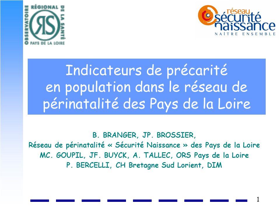 1 Indicateurs de précarité en population dans le réseau de périnatalité des Pays de la Loire B. BRANGER, JP. BROSSIER, Réseau de périnatalité « Sécuri