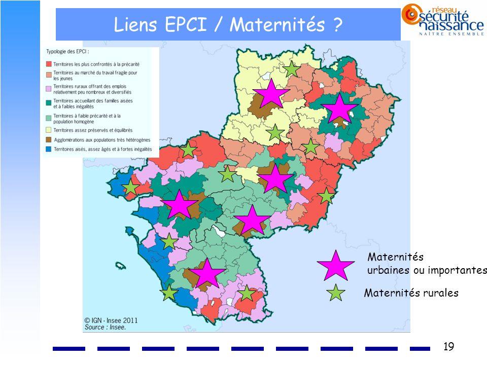 19 Liens EPCI / Maternités ? Maternités urbaines ou importantes Maternités rurales