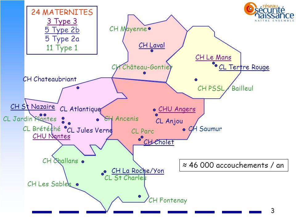 3 CH Chateaubriant CH Château-Gontier CH Laval CL Tertre Rouge CH Le Mans CHU Nantes CH Ancenis CH La Roche/Yon CH Cholet CL Atlantique CL Jules Verne