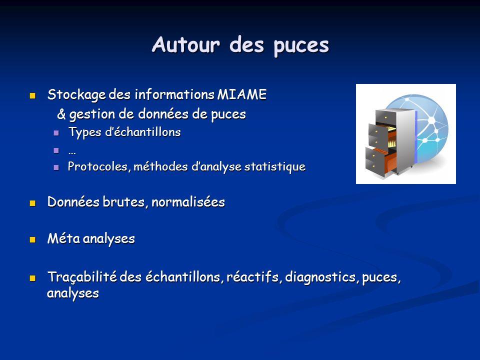 Autour des puces Stockage des informations MIAME Stockage des informations MIAME & gestion de données de puces & gestion de données de puces Types déc