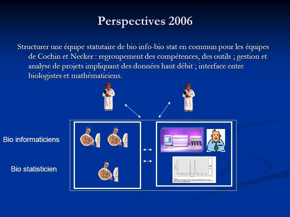 Perspectives 2006 Structurer une équipe statutaire de bio info-bio stat en commun pour les équipes de Cochin et Necker : regroupement des compétences,