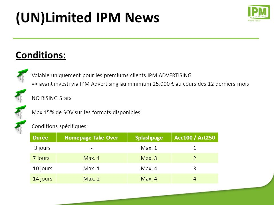 Conditions: Valable uniquement pour les premiums clients IPM ADVERTISING => ayant investi via IPM Advertising au minimum 25.000 au cours des 12 dernie