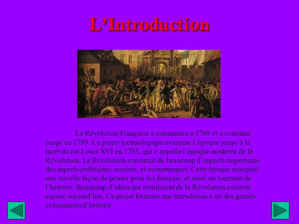 LIntroduction La Révolution Française a commencé a 1789 et a continué jusquen 1799.