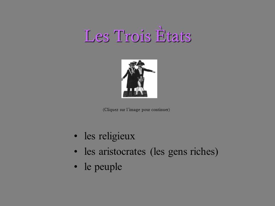 Les Trois Ètats les religieux les aristocrates (les gens riches) le peuple (Cliquez sur limage pour continuer)