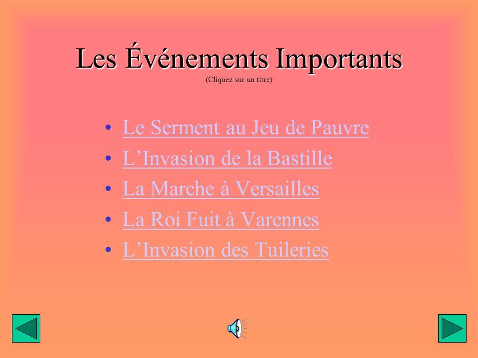 Les Événements Importants Les Événements Importants (Cliquez sur un titre) Le Serment au Jeu de Pauvre LInvasion de la Bastille La Marche à Versailles La Roi Fuit à Varennes LInvasion des Tuileries