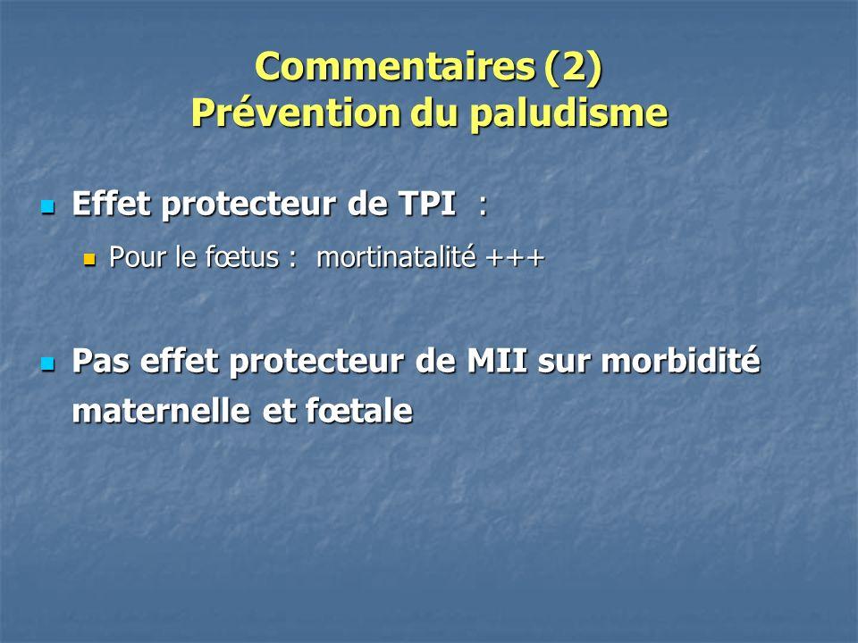 Commentaires (2) Prévention du paludisme Effet protecteur de TPI : Effet protecteur de TPI : Pour le fœtus : mortinatalité +++ Pour le fœtus : mortinatalité +++ Pas effet protecteur de MII sur morbidité maternelle et fœtale Pas effet protecteur de MII sur morbidité maternelle et fœtale