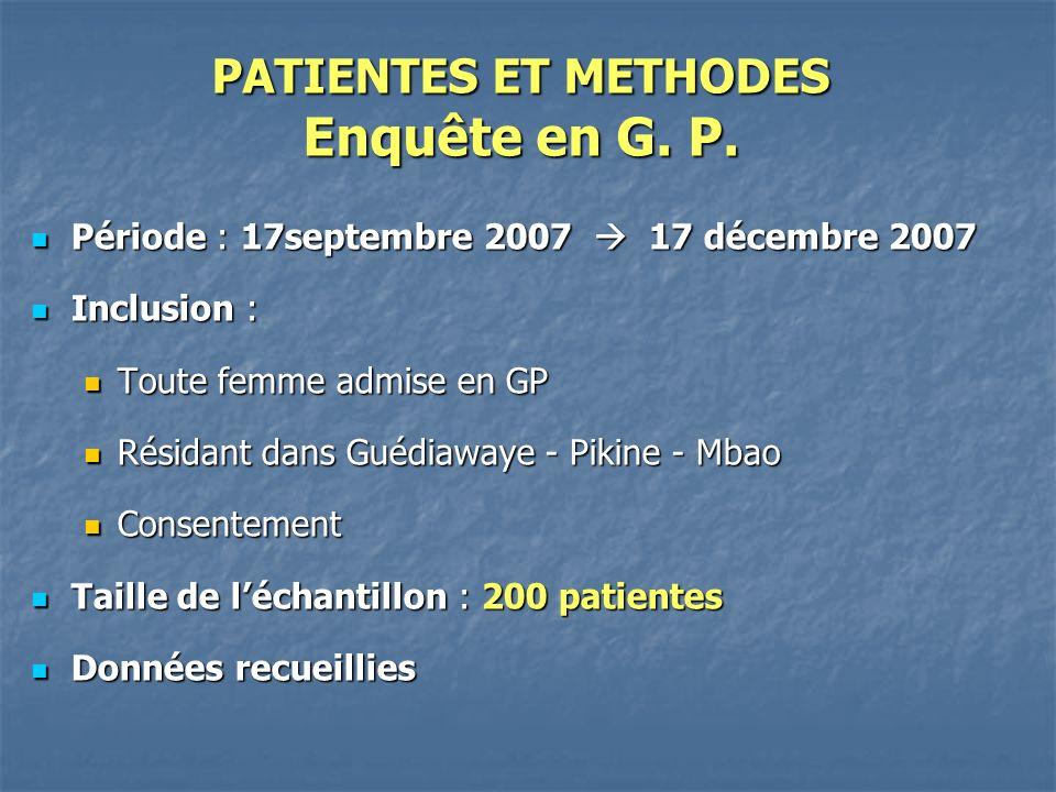 RESULTATS Distribution selon diagnostic dentrée en GP DiagnosticNombre Pourcentage (%) Paludisme2010 HTA /grossesse 126 Anémie/ grossesse 052 R.O.M.199 Path Obst.