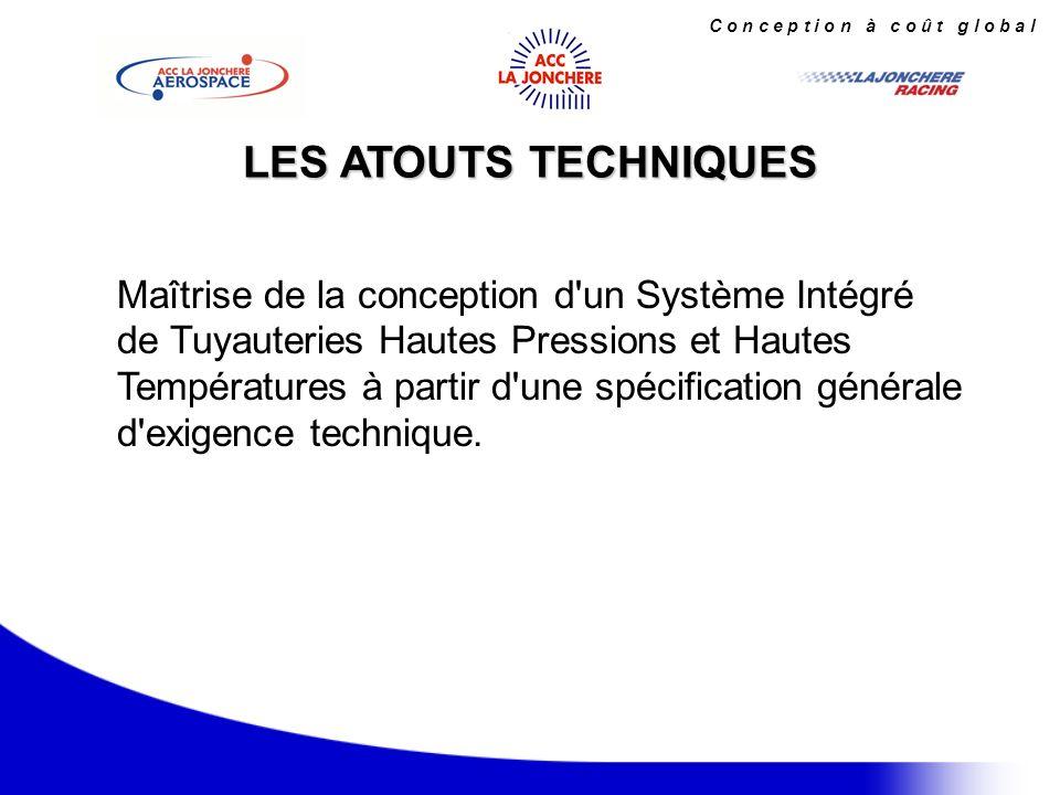 C o n c e p t i o n à c o û t g l o b a l Analyse et validation de la ligne complète grâce aux résolutions matricielles ou éléments finis, logiciels COSMOSM, CAEPIPE en accord avec les normes Internationales : LES POINTS CRITIQUES Modélisation gimbal CAO Catia aéronautiques : AMS, MIL, ADET ferroviaires : SNCF, DB industrielles : NF EN nucléaires : RCCM