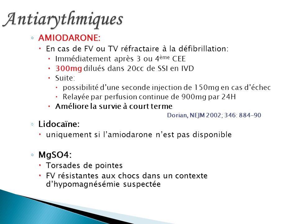 AMIODARONE: AMIODARONE: En cas de FV ou TV réfractaire à la défibrillation: Immédiatement après 3 ou 4 ème CEE 300mg 300mg dilués dans 20cc de SSI en