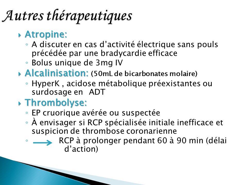 Atropine: Atropine: A discuter en cas dactivité électrique sans pouls précédée par une bradycardie efficace Bolus unique de 3mg IV Alcalinisation: Alc