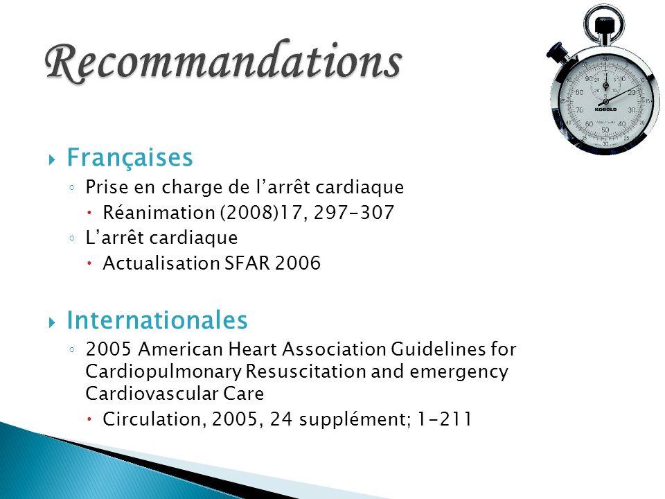 Françaises Prise en charge de larrêt cardiaque Réanimation (2008)17, 297-307 Larrêt cardiaque Actualisation SFAR 2006 Internationales 2005 American He