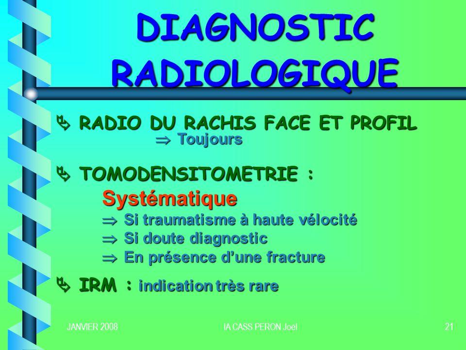 JANVIER 2008IA CASS PERON Joël21 DIAGNOSTIC RADIOLOGIQUE RADIO DU RACHIS FACE ET PROFIL RADIO DU RACHIS FACE ET PROFIL Toujours Toujours TOMODENSITOME
