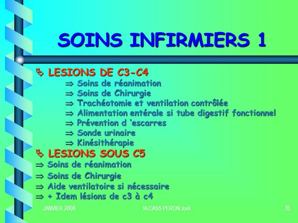 JANVIER 2008IA CASS PERON Joël35 SOINS INFIRMIERS 1 LESIONS DE C3-C4 LESIONS DE C3-C4 Soins de réanimation Soins de réanimation Soins de Chirurgie Soi