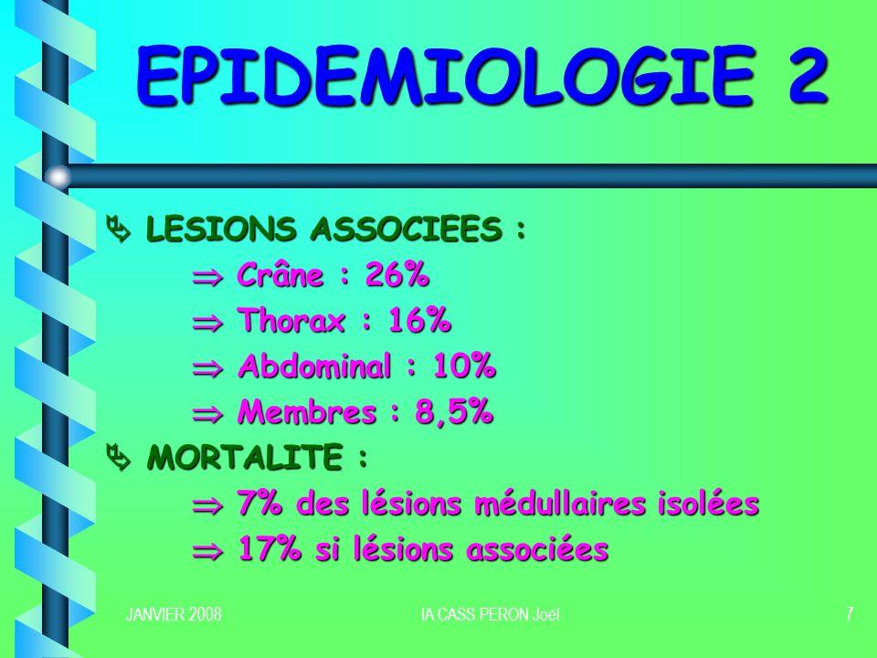 JANVIER 2008IA CASS PERON Joël7 EPIDEMIOLOGIE 2 LESIONS ASSOCIEES : LESIONS ASSOCIEES : Crâne : 26% Crâne : 26% Thorax : 16% Thorax : 16% Abdominal :