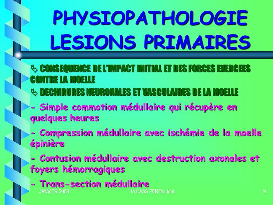 JANVIER 2008IA CASS PERON Joël9 PHYSIOPATHOLOGIE LESIONS PRIMAIRES CONSEQUENCE DE LIMPACT INITIAL ET DES FORCES EXERCEES CONTRE LA MOELLE CONSEQUENCE