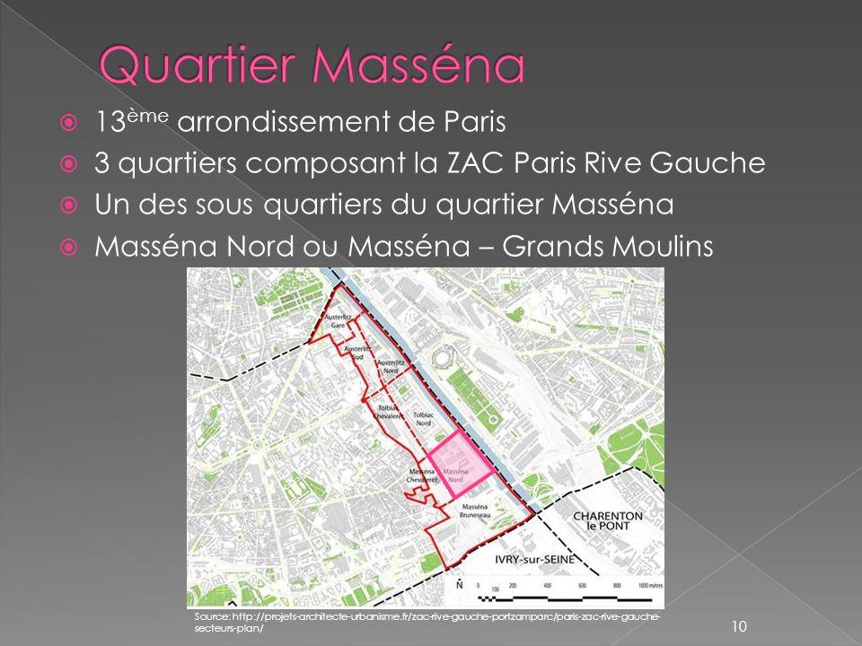 13 ème arrondissement de Paris 3 quartiers composant la ZAC Paris Rive Gauche Un des sous quartiers du quartier Masséna Masséna Nord ou Masséna – Gran
