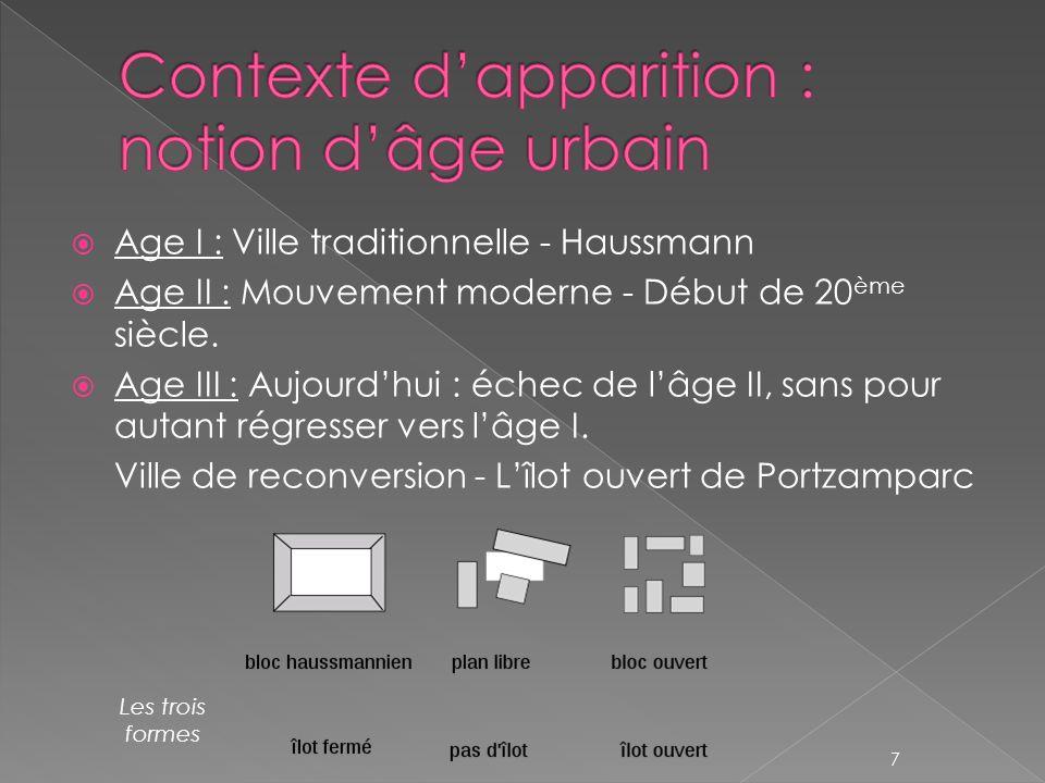 Age I : Ville traditionnelle - Haussmann Age II : Mouvement moderne - Début de 20 ème siècle. Age III : Aujourdhui : échec de lâge II, sans pour autan