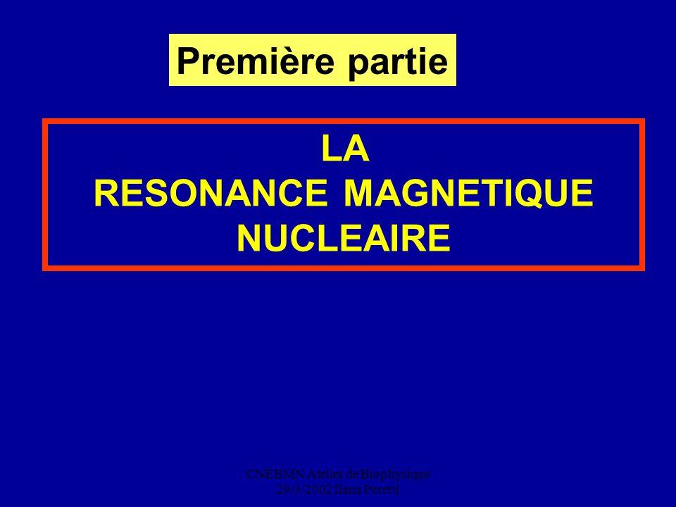 CNEBMN Atelier de Biophysique 29/3/2002 Ilana Peretti LA RESONANCE MAGNETIQUE NUCLEAIRE Première partie