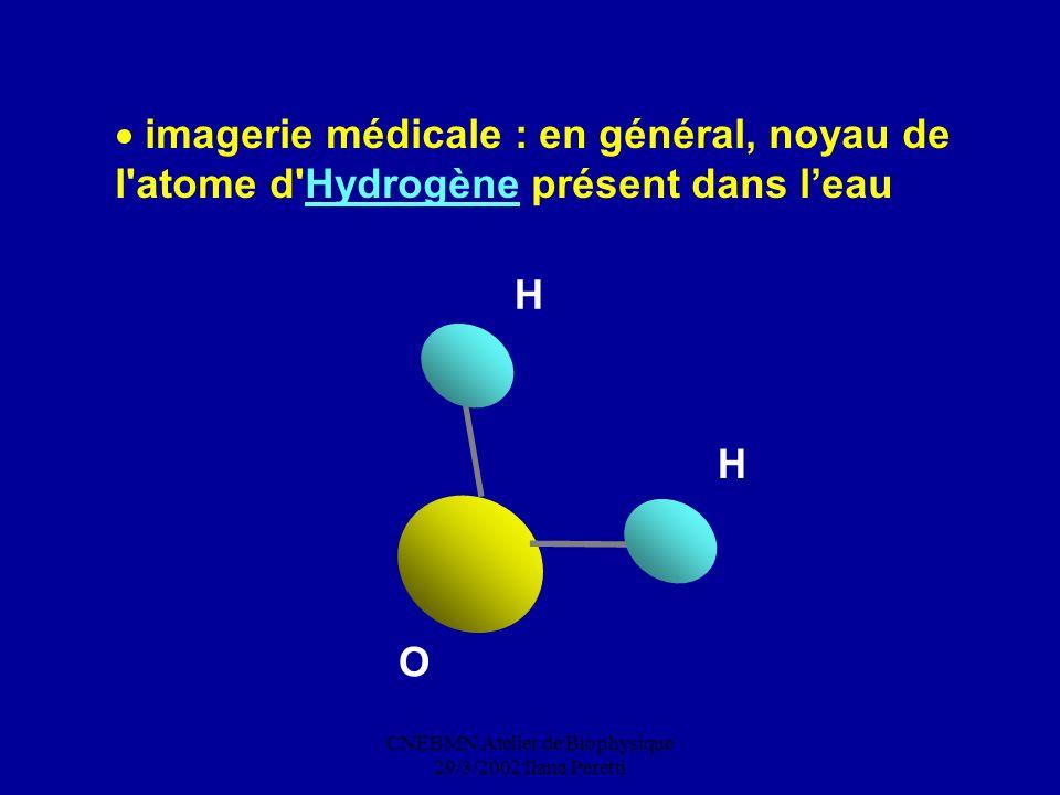 CNEBMN Atelier de Biophysique 29/3/2002 Ilana Peretti imagerie médicale : en général, noyau de l'atome d'Hydrogène présent dans leau O H H