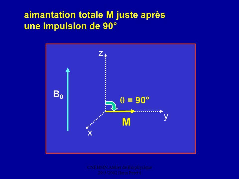 CNEBMN Atelier de Biophysique 29/3/2002 Ilana Peretti B0B0 M x y z aimantation totale M juste après une impulsion de 90° = 90°