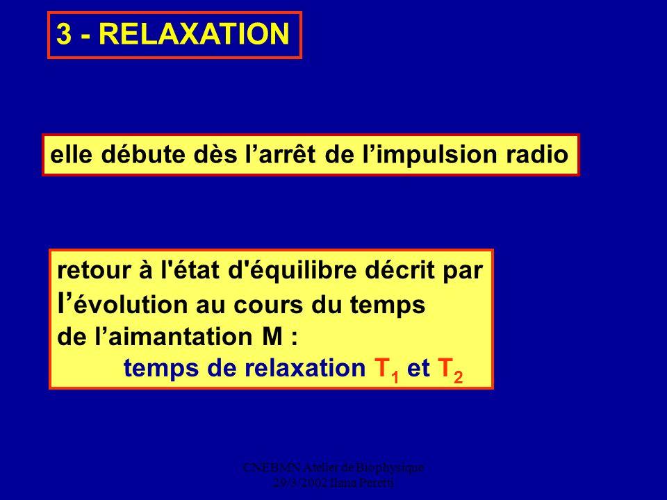 CNEBMN Atelier de Biophysique 29/3/2002 Ilana Peretti retour à l'état d'équilibre décrit par l évolution au cours du temps de laimantation M : temps d
