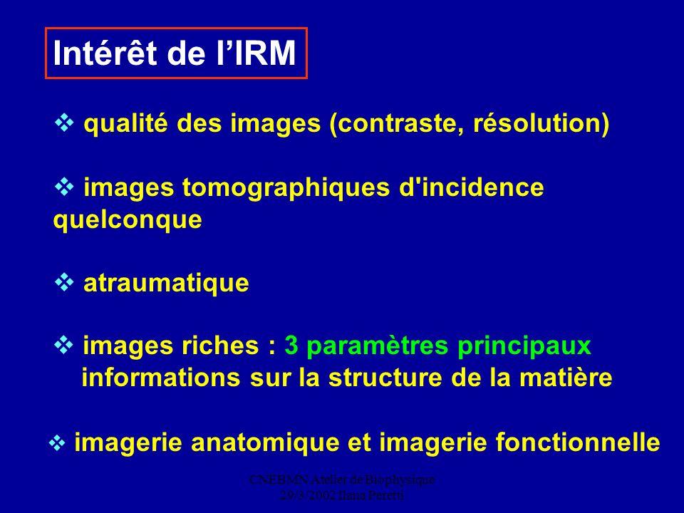CNEBMN Atelier de Biophysique 29/3/2002 Ilana Peretti qualité des images (contraste, résolution) images tomographiques d'incidence quelconque atraumat