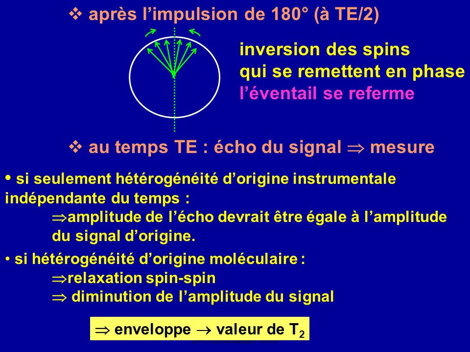 CNEBMN Atelier de Biophysique 29/3/2002 Ilana Peretti enveloppe valeur de T 2 après limpulsion de 180° (à TE/2) inversion des spins qui se remettent e