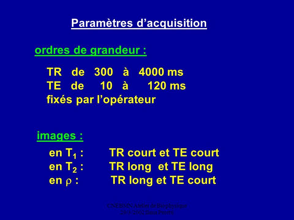 CNEBMN Atelier de Biophysique 29/3/2002 Ilana Peretti Paramètres dacquisition ordres de grandeur : TR de 300 à 4000 ms TE de 10 à 120 ms fixés par lop