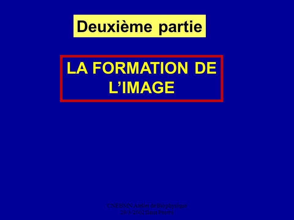 CNEBMN Atelier de Biophysique 29/3/2002 Ilana Peretti LA FORMATION DE LIMAGE Deuxième partie