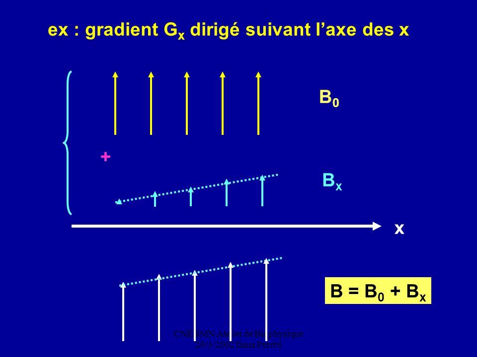 CNEBMN Atelier de Biophysique 29/3/2002 Ilana Peretti ex : gradient G x dirigé suivant laxe des x x B0B0 BxBx + B = B 0 + B x