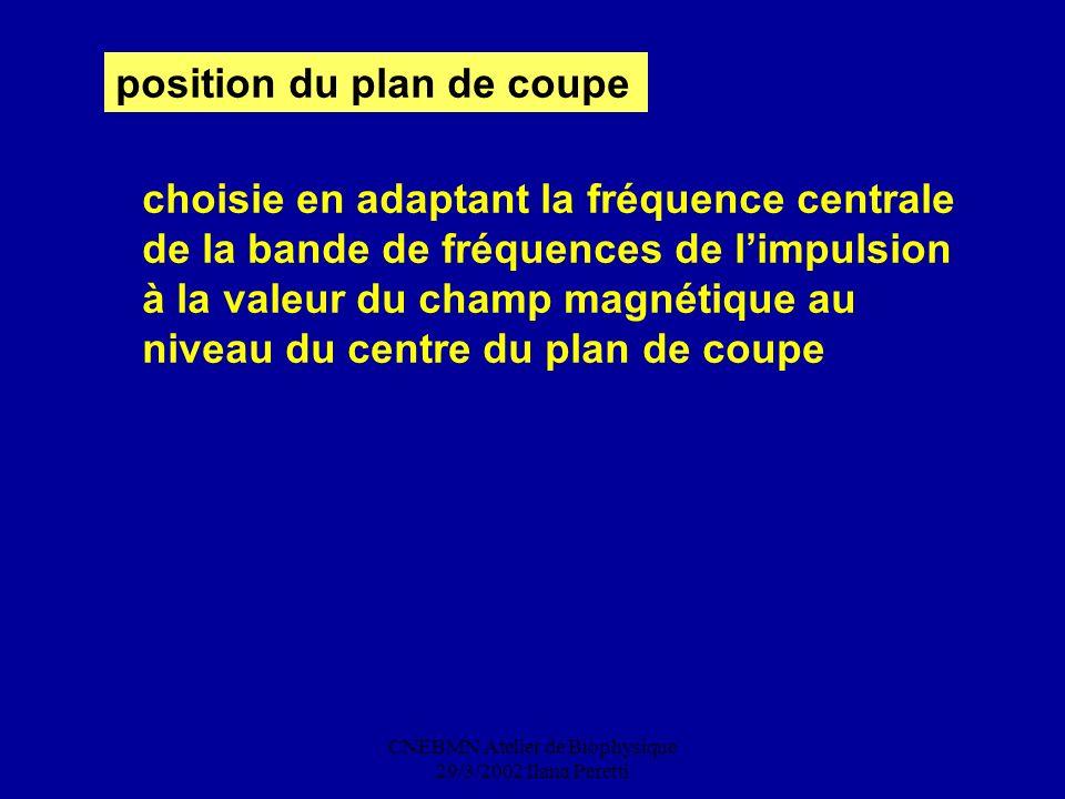 CNEBMN Atelier de Biophysique 29/3/2002 Ilana Peretti position du plan de coupe choisie en adaptant la fréquence centrale de la bande de fréquences de