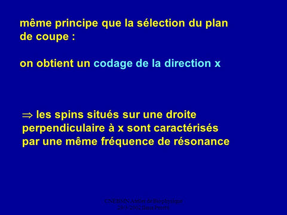 CNEBMN Atelier de Biophysique 29/3/2002 Ilana Peretti même principe que la sélection du plan de coupe : on obtient un codage de la direction x les spi